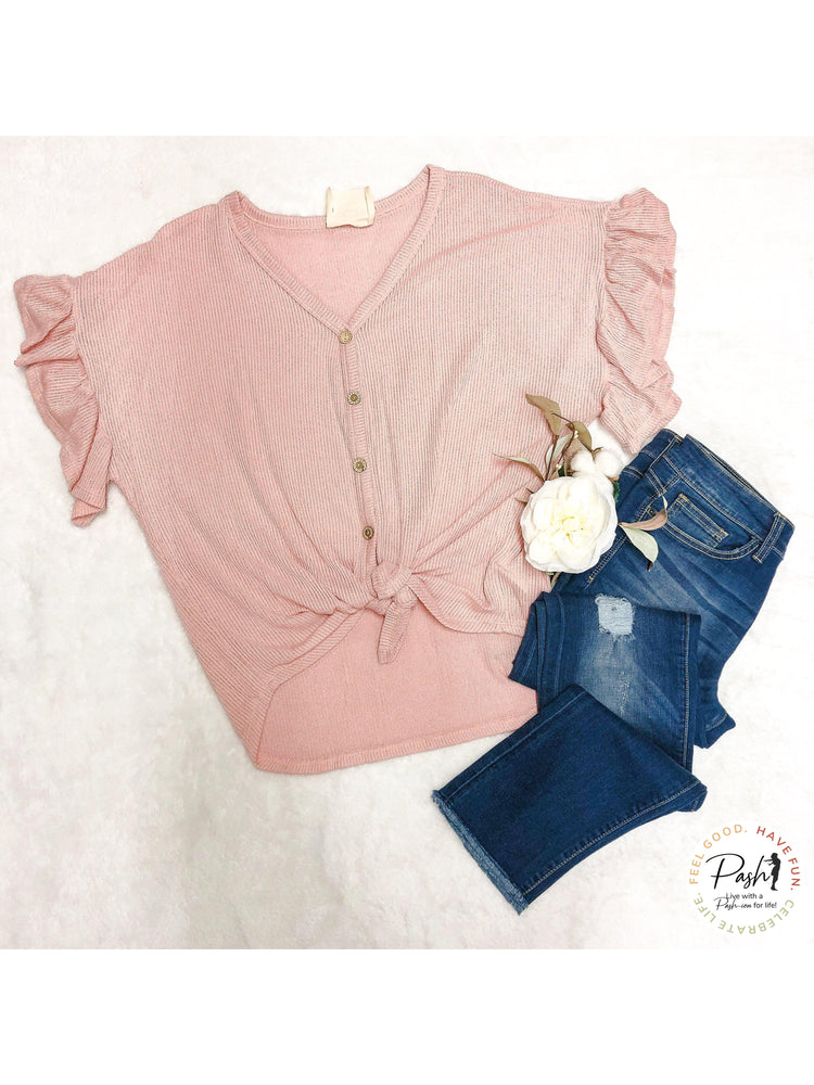 Button Down Thermal Knit Flutter Sleeve Front Tie Top - Soft Pink
