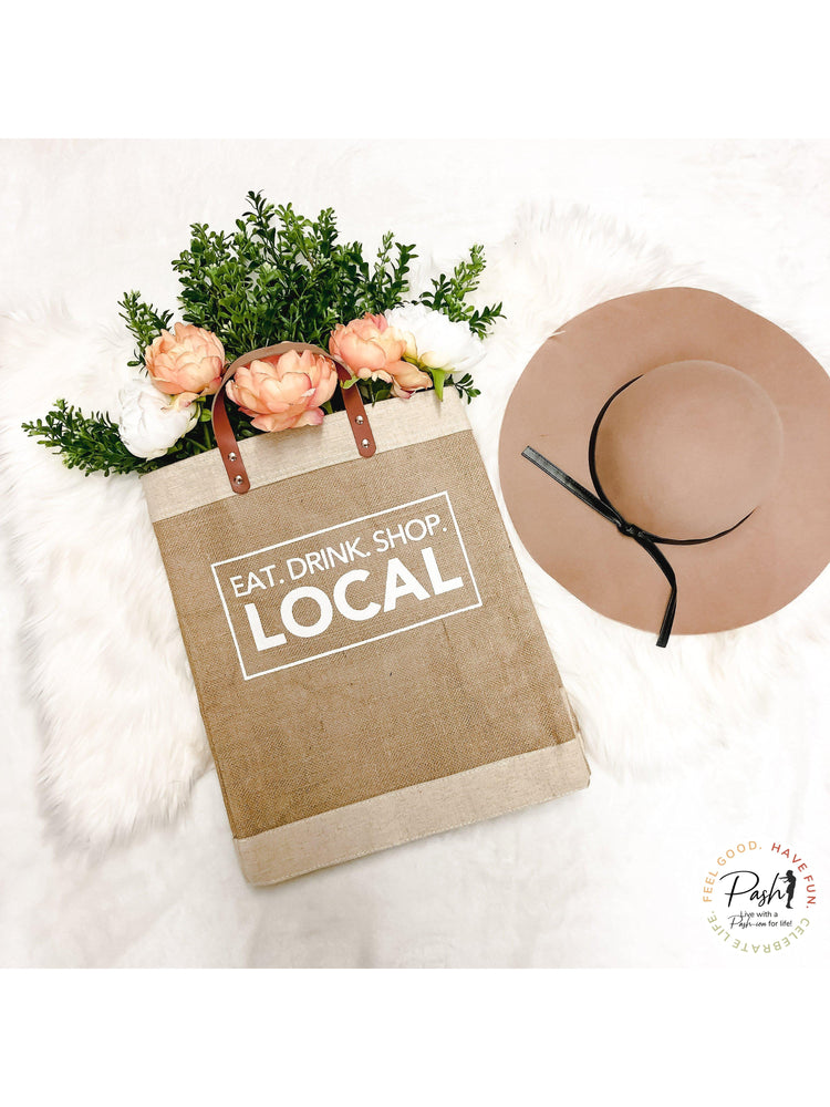 Market Tote - Leather Handled Jute Tote - Eat, Drink, Shop Local