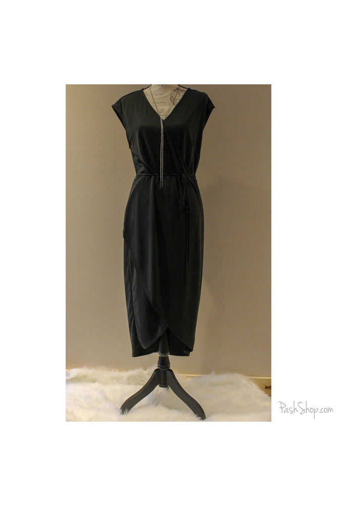 SALE - Cupro Wrap Dress with Cap Sleeve & Belt - Charcoal