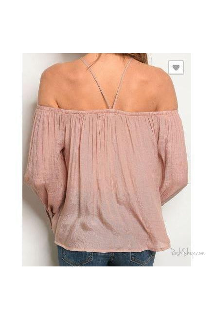 Off the Shoulder Chiffon Tunic Blouse - Blush