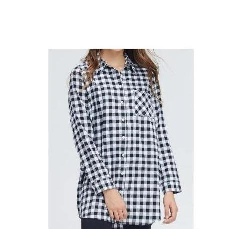Long Black White Gingham Flannel - Tunic or Dress Style