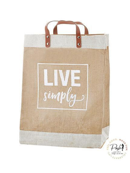 Market Tote - Leather Handled Jute Tote - Live Simply