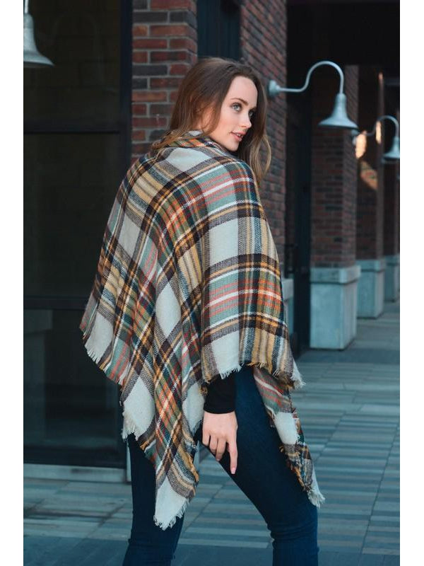 Classic Flannel Poncho with Toggle Closure