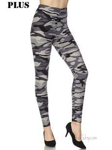 Plus Brushed Solid Ankle Leggings - Grey Camo