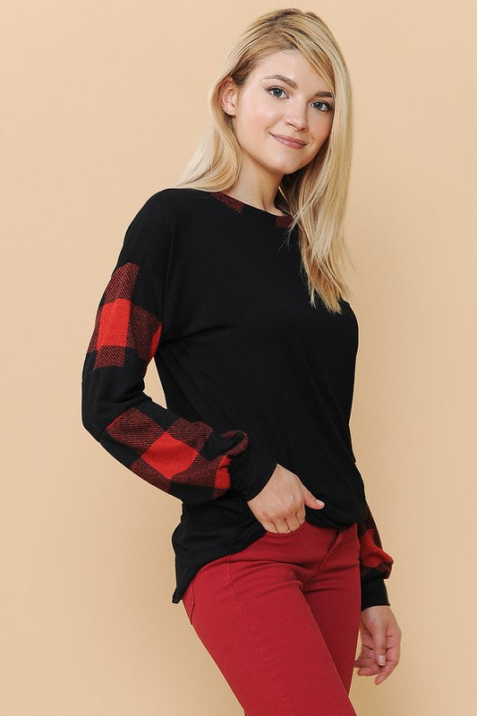 Rounded Bottom Relaxed Top with Red Buffalo Plaid Sleeves
