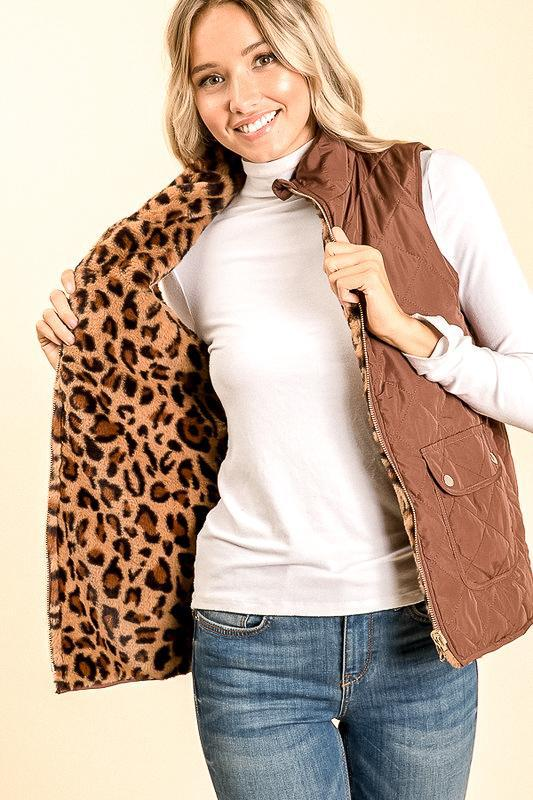 Reversible Leopard Fur Vest Jacket