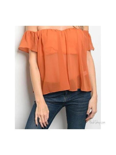 Off Shoulder Lightweight Sheer Top - Rust