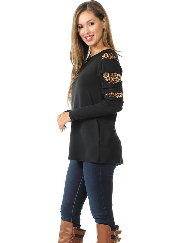 Black Top with Leopard Sleeve Cutout Detail