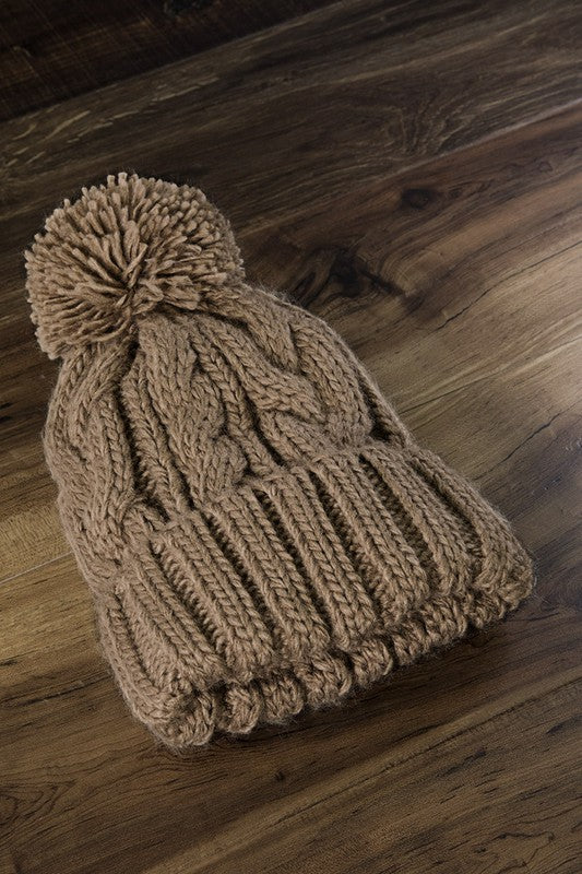 The Classic Cable Knit PomPom Beanie - Taupe