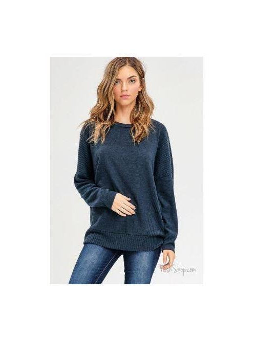 Teal Soft Texture Loose Fit Long Dolman Sleeve Top