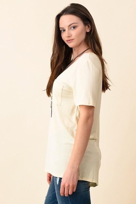 V-Neck Pocket Boyfriend Tee - Butter