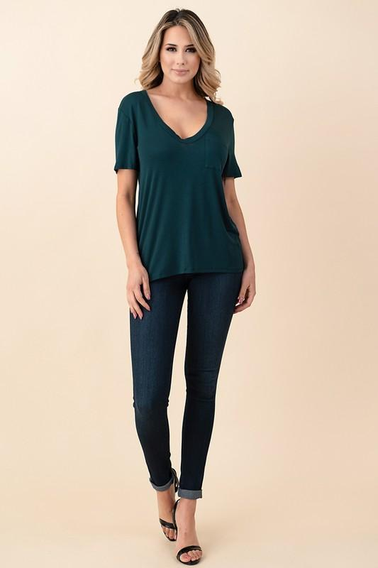 V-Neck Pocket Boyfriend Tee - Hunter Green