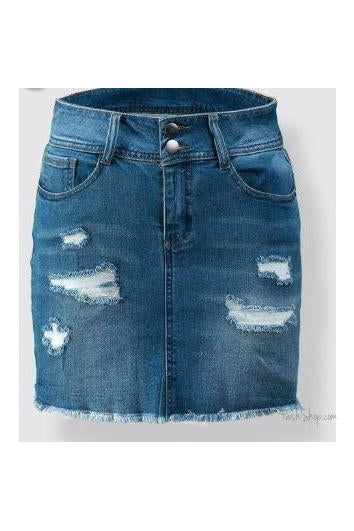 SALE Plus Size Vintage Wash Distressed Denim Mini Skirt