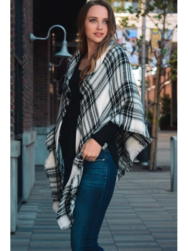 Black White Plaid Classic Flannel Poncho with Toggle Closure