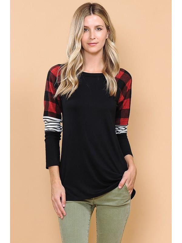 Black Top with Red Buffalo Plaid Stripe Colorblock Sleeve