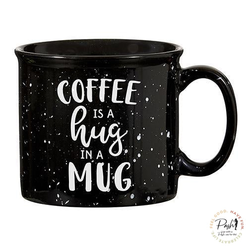 Black Campfire Mug - Coffee is a Hug in a Mug