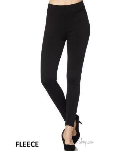 Black Solid Fleece Leggings