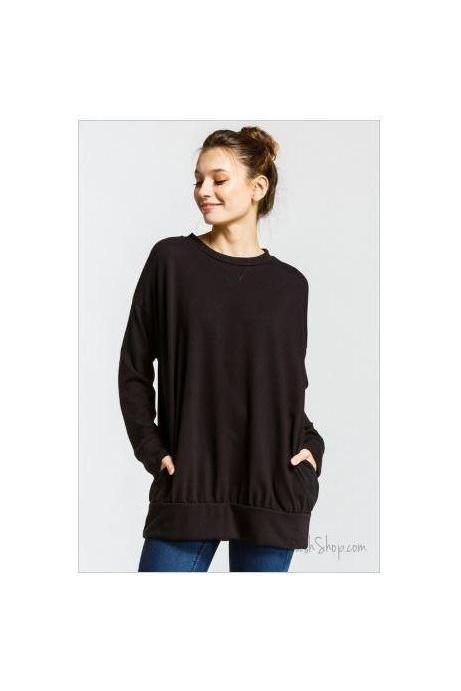 Black Loose Fit Long Sleeve Tunic Top