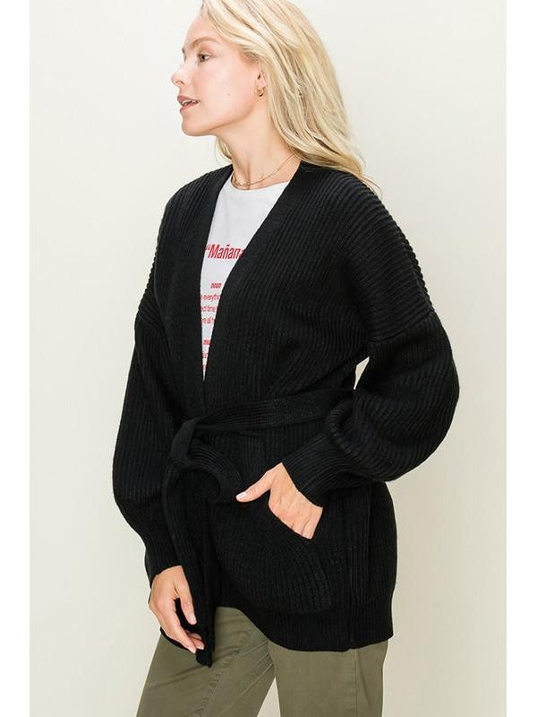 Wrapped in Joy  Black Wrap Front Cardigan
