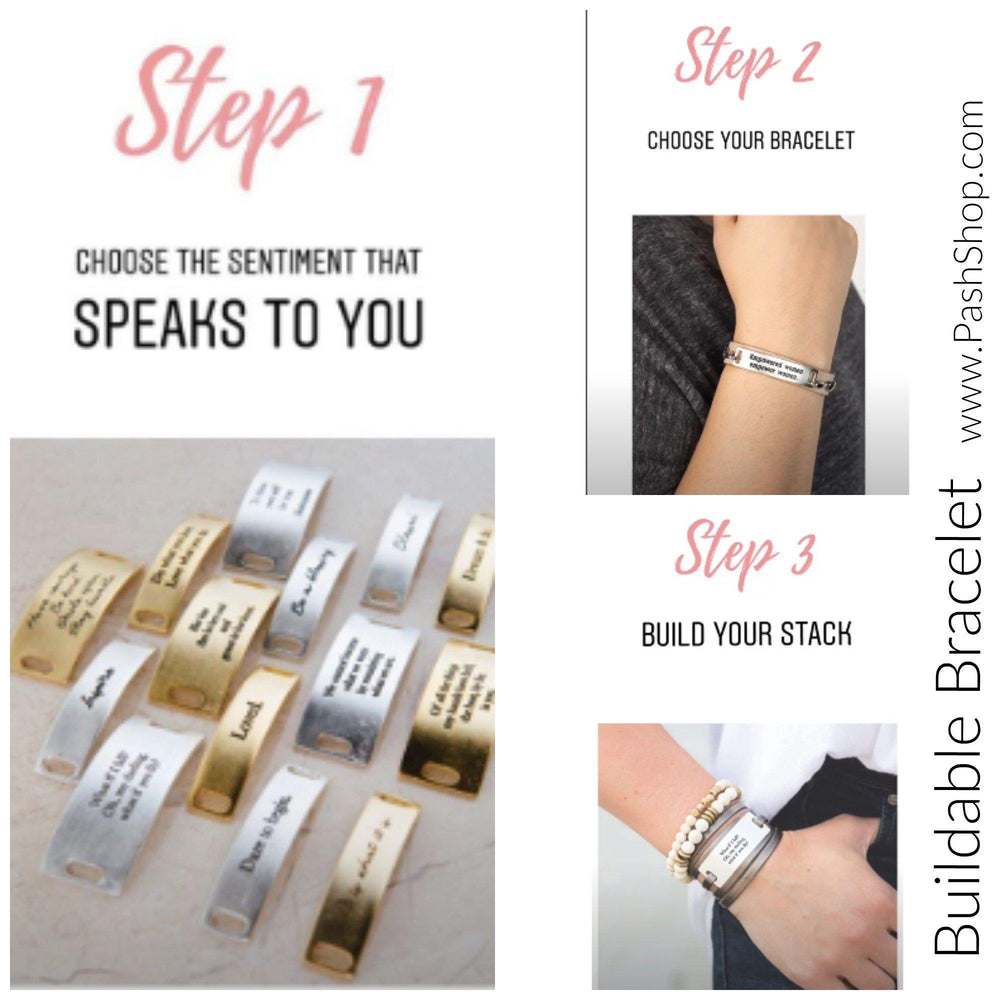 """Blessed"" Sentiment for  Buildable Bracelet - Silver"