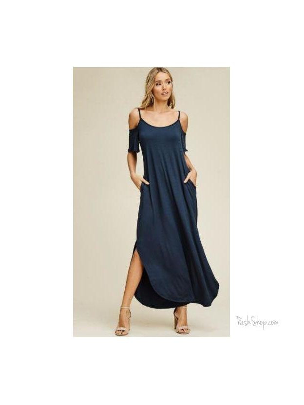 SALE - Plus Size Cold Shoulder Maxi Dress