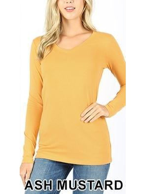 Basic Babes Long Sleeve V-neck Top - Ash Mustard