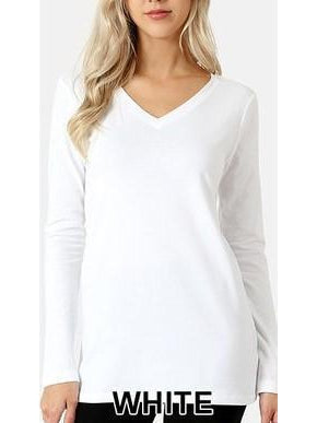 Basic Babes Long Sleeve V-neck Top - White