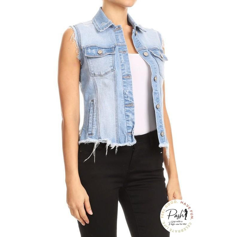 Womens Sleeveless Vintage Distressed Ripped Denim Vest Jacket