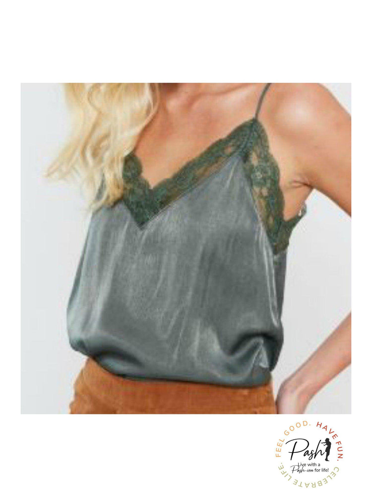 Olive Lace Trim Camisole Top