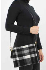 Black White Plaid Crossbody Clutch Purse