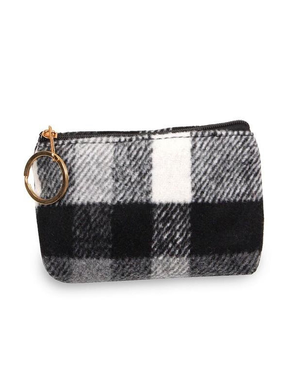 Black White Plaid Coin Purse