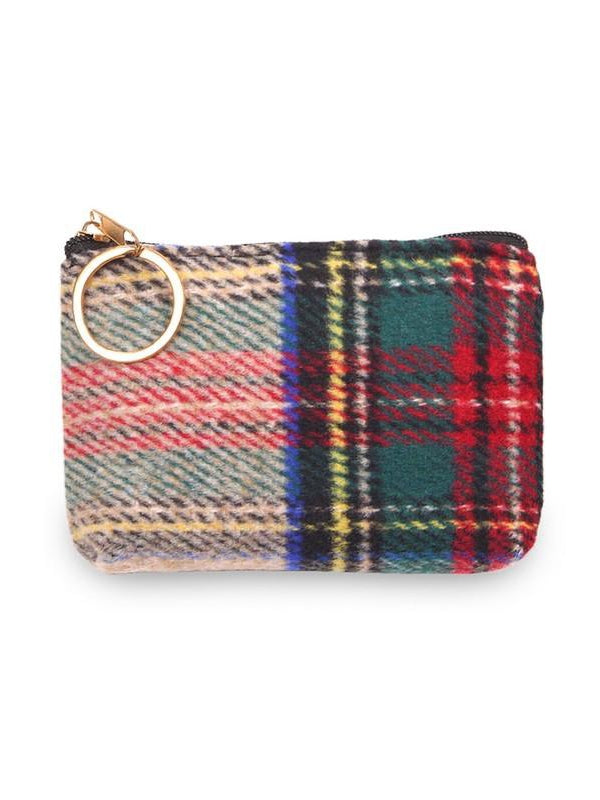 Tan Tartan Plaid Coin Purse