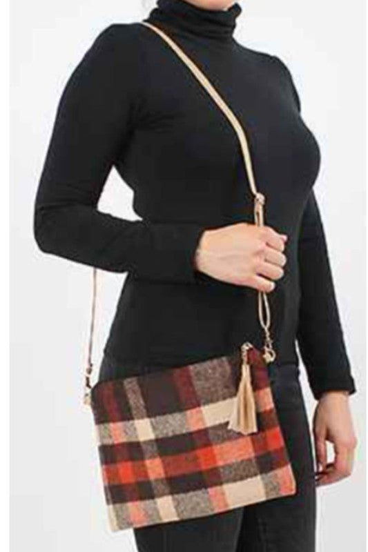 Colors of Fall Orange, Brown, Tan tartan Plaid Crossbody Clutch Purse