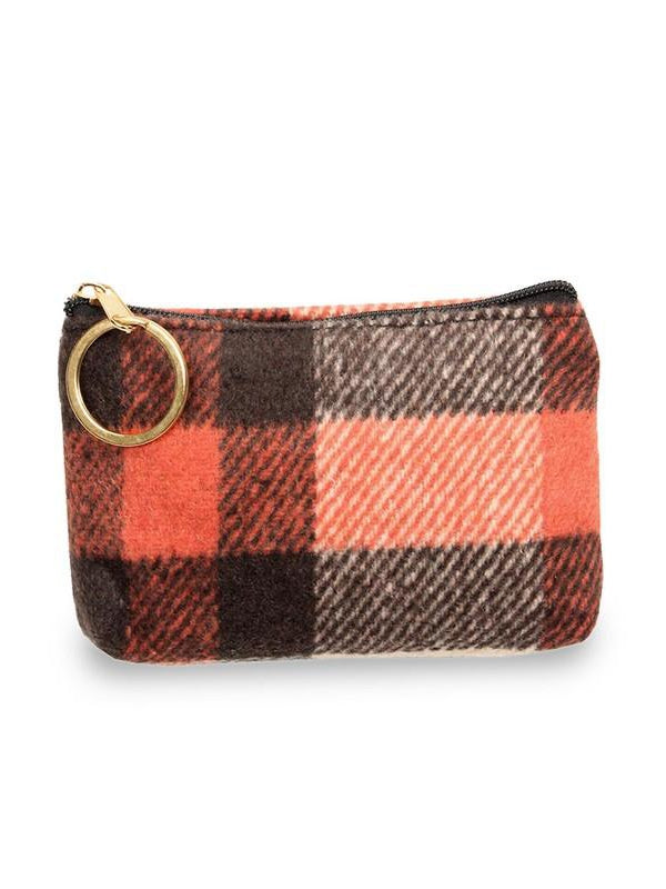 Colors of Fall Orange, Brown, Tan Tartan Plaid Coin Purse