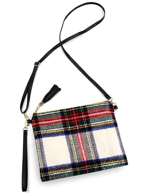 Red, Cream, Green Tartan Plaid Crossbody Clutch Purse