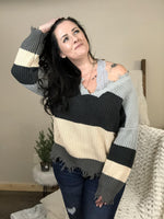 On the Edge Frayed Grey Multi Color Striped Sweater