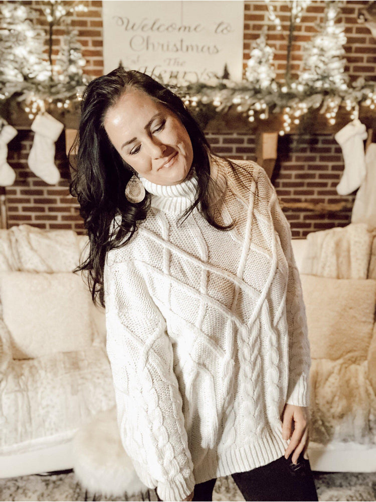 Easy Going Vanilla Turtleneck Knit Sweater