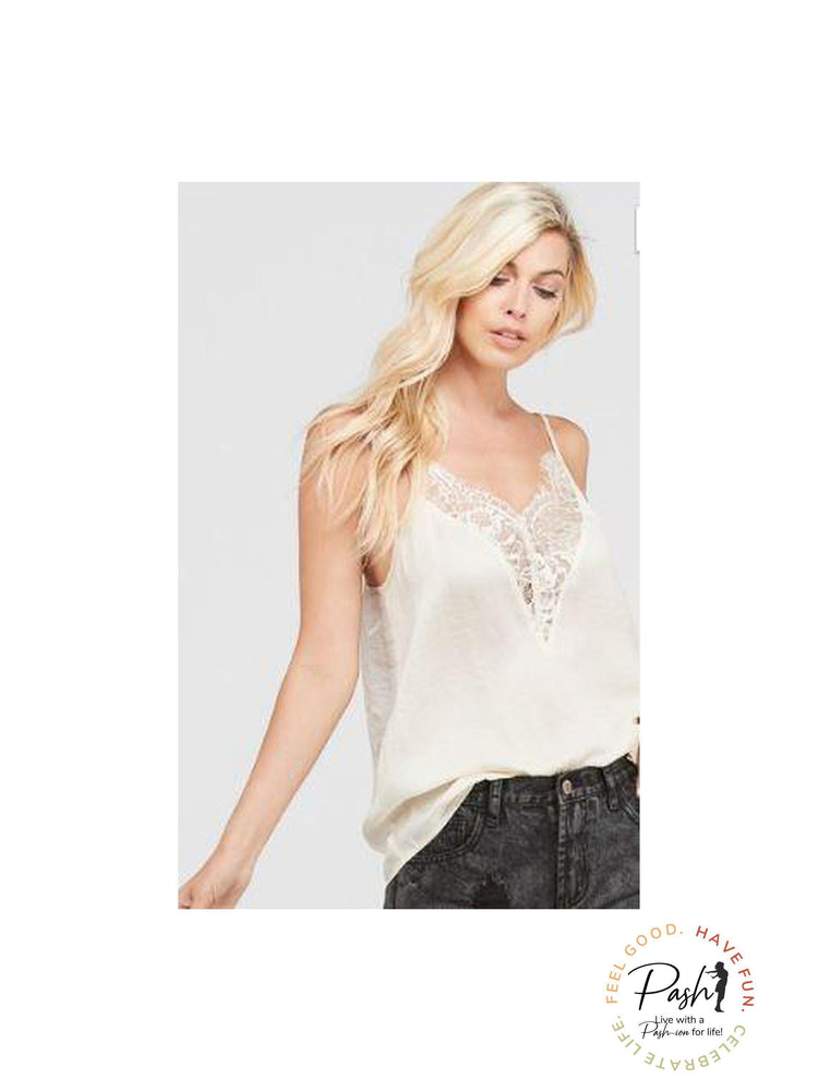 Ivory Lace Trim Camisole Top