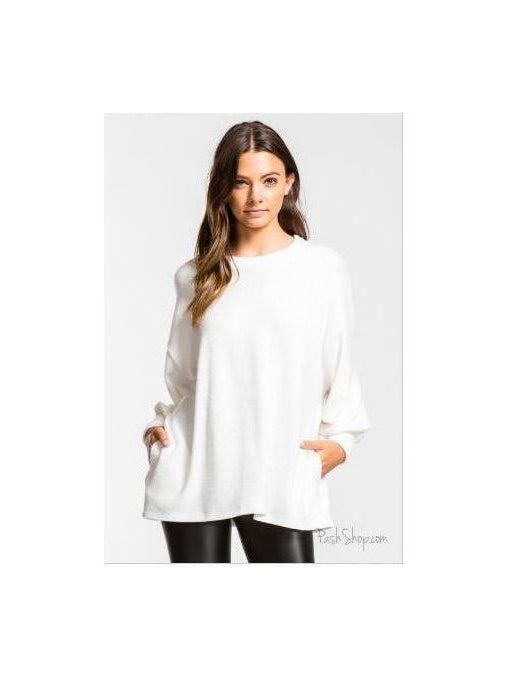 Ivory Soft Fuzzy Boxy Fit Long Balloon Sleeve Loose Top