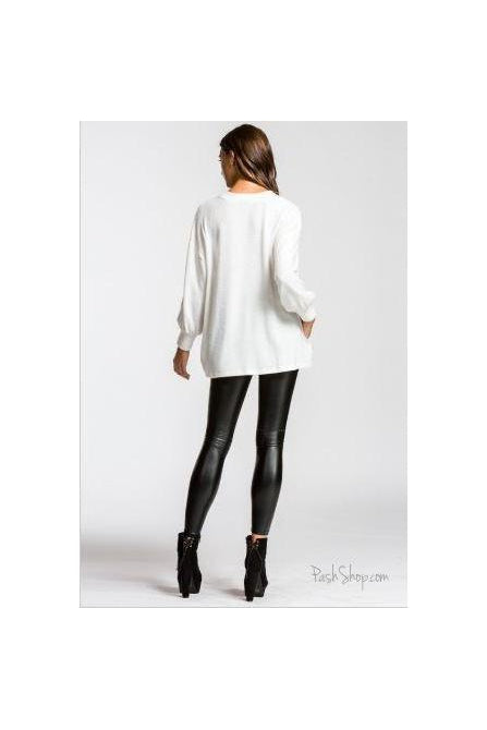 Comforts of Home Soft Ivory Balloon Sleeve Relaxed Top