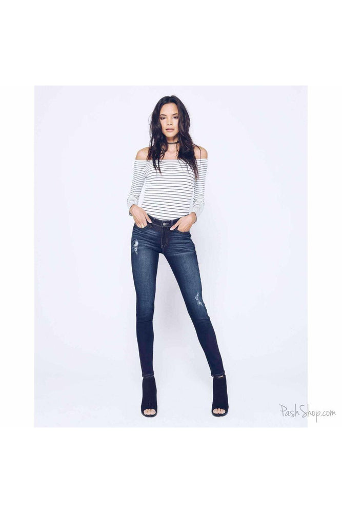 KanCan Chanel-Marla Dark Wash Lightly Distressed Skinny Jeans -Sz5