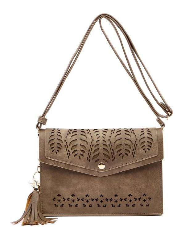 Taupe Laser Cut Tassel Faux Leather Crossbody Clutch Purse