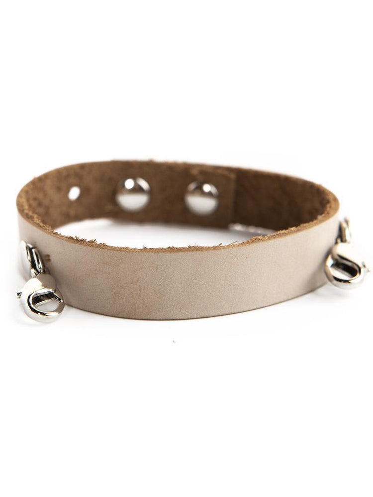 Leather Cuff Buildable Bracelet - Bone