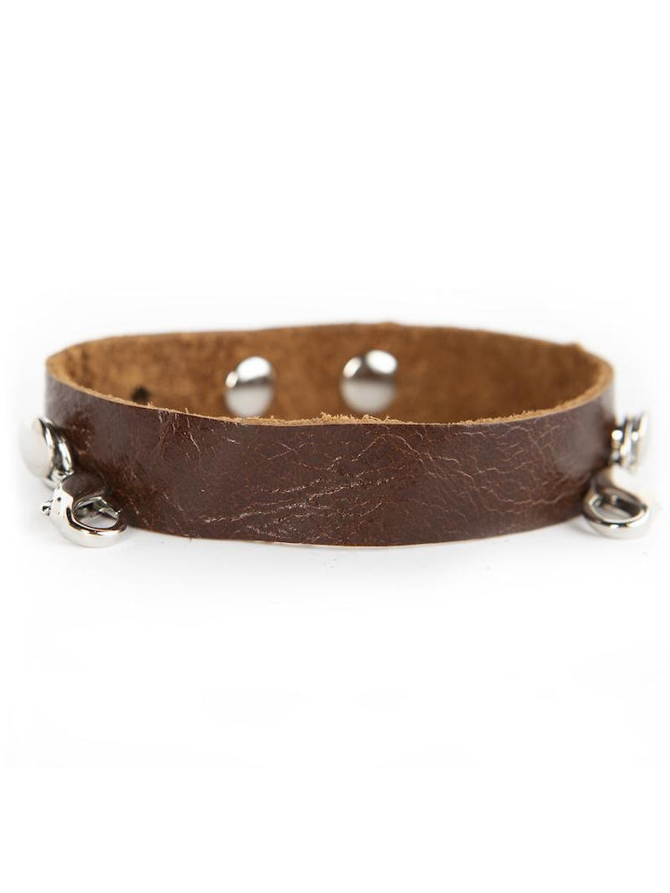 Leather Cuff Buildable Bracelet - Dark Chestnut