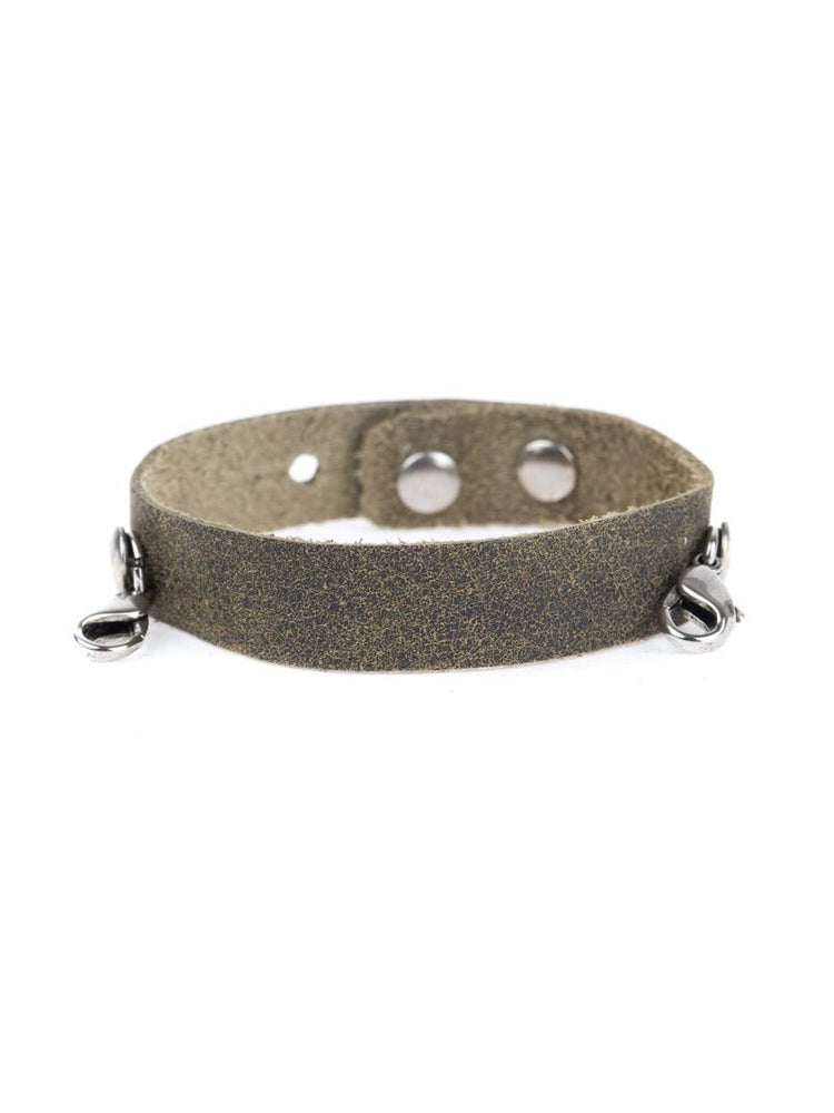 Leather Cuff Buildable Bracelet - Olive