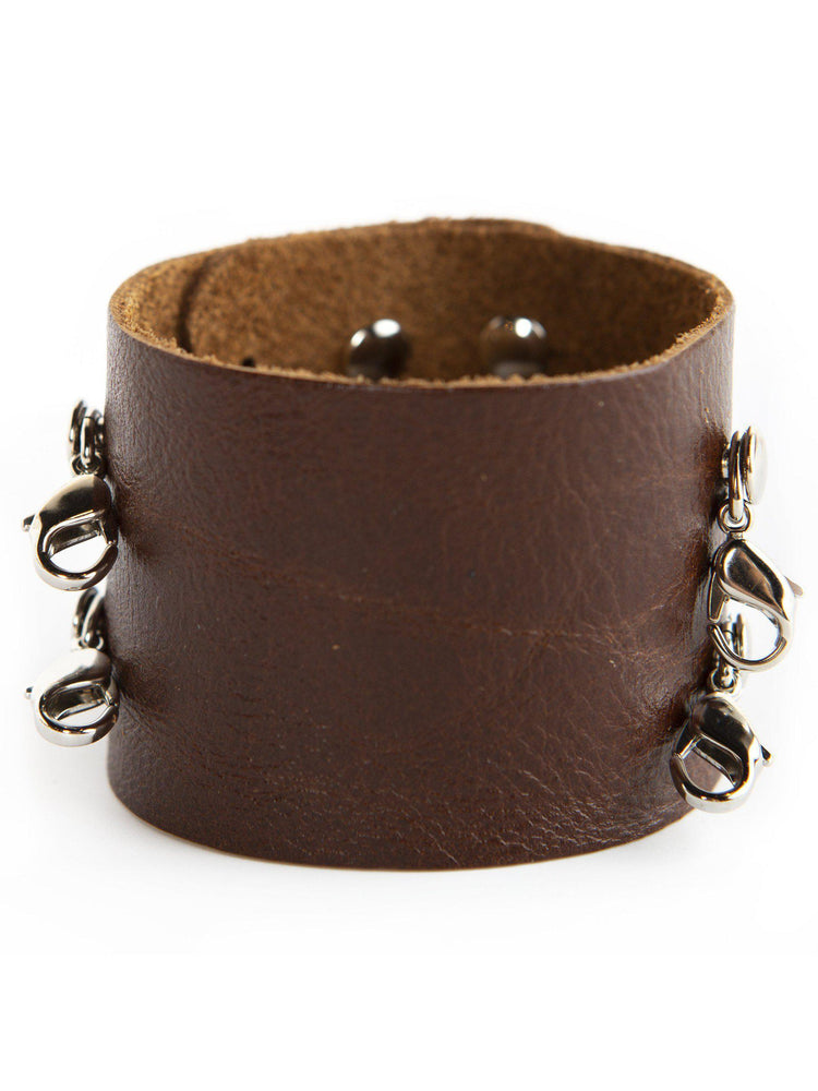 Leather Wide Vintage Cuff Buildable Bracelet - Dark Chestnut