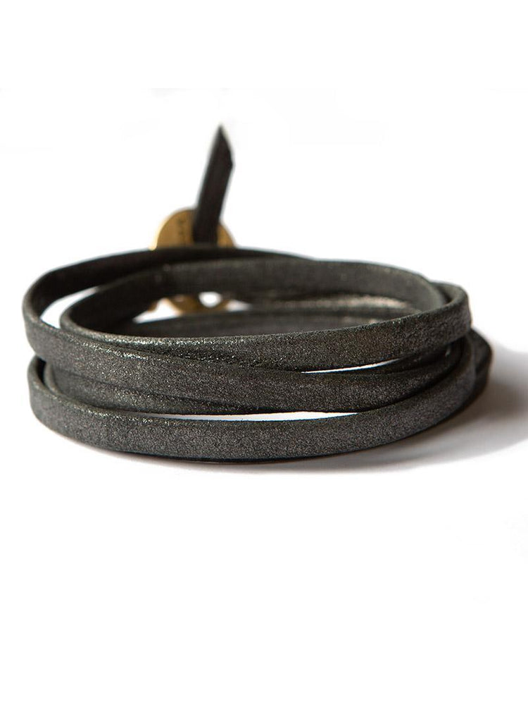 Leather Wrap Buildable Bracelet - Silver