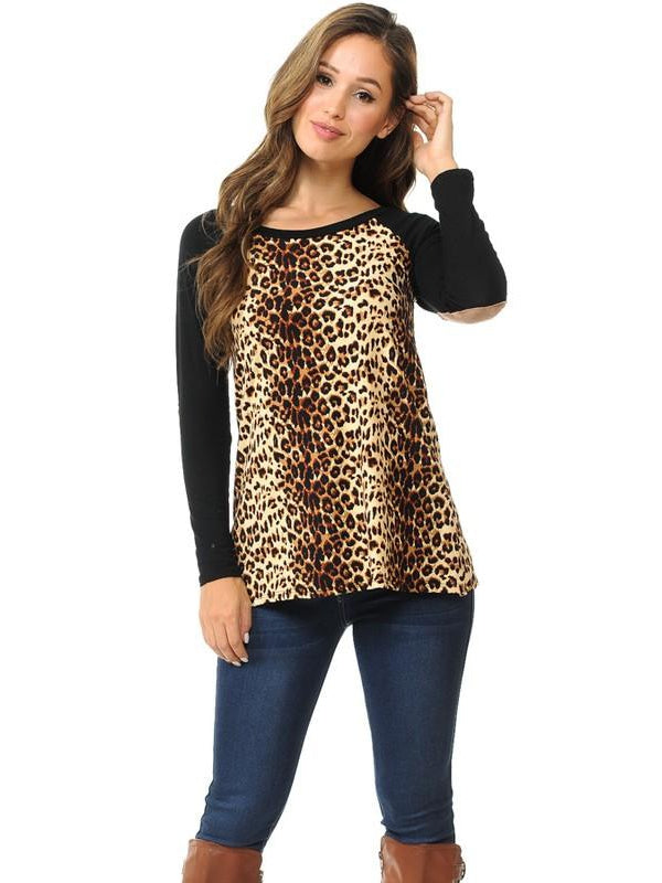 Black Leopard Colorblock Top