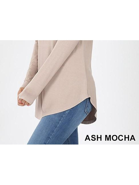 Basic Babes Relaxed Long Sleeve Top - Ash Mocha