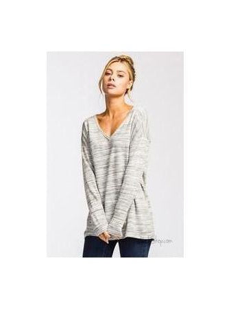 Heather Grey Loose fit scoop v-neck long sleeve top